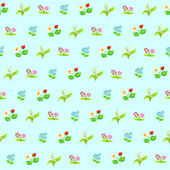 Seamless pattern of wild flowers — Stock Vector