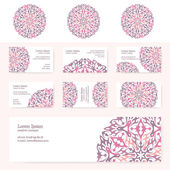 Visiting cards with original pattern - set . — Stock Vector