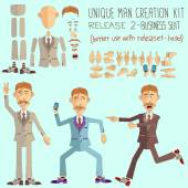 Men Set for generating various poses of parts of the body. — Stock Vector