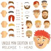 Unique man creation kit, release 1 - head and face. — Stock Vector