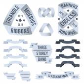 Set of wavy, curved banners or ribbons — Stockvektor