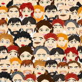Seamless pattern of a crowd of people — Stock Vector