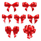 Red festive bows. Beautiful bright bows of different configurations — Stock Vector
