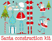 Set to create a Santa in different poses. — Stock Vector