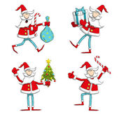 Santa in different poses. — Stock Vector
