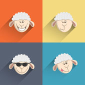 Set of 4 icons sheep style flat design. — Stockvektor