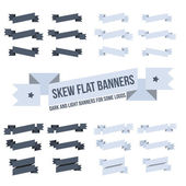 Set of wavy, curved banners or ribbons — Stock Vector