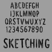 Sketch font. Shabby font. — Stock Vector