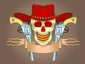 Cowboy emblem with a skull wearing a hat and a gun. — Stock Vector