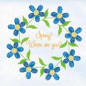 Spring flowers watercolor vignette. — Stock Vector