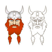 Severe head viking with a bright red beard and a horned helmet — Stock Vector