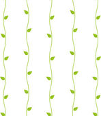 Waves and green leaves floral seamless wallpaper. — Stockvektor