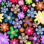 Seamless pattern of fantastic different flowers — Stock Vector