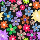 Seamless pattern of fantastic different flowers — Stockvektor