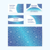 Business cards with blue intricate folk texture. — Stockvektor
