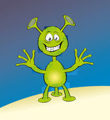 Jolly green alien with three legs — Stock Vector
