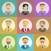 Funny male avatars in business suits — Vetor de Stock