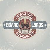 Shabby emblem snowboard team — Stock Vector