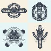 Snowboard logos, emblems of different designs — Vettoriale Stock