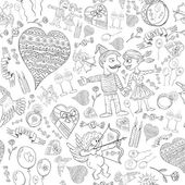 Love seamless pattern of funny doodles — Stock Vector