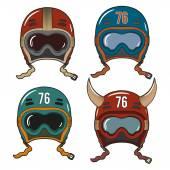 Racing helmets in old-school style — Stock Vector