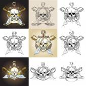 Template pirate logo with skull — Stock Vector
