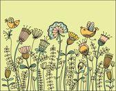 Birds flying over the flowers — Stock Vector