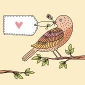 鳥は枝に座って — ストックベクタ