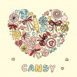 Heart with candy and lollipops — Stock Vector #63297791