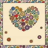 Heart of colorful buttons — Stock Vector