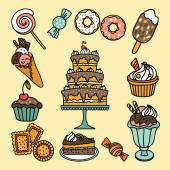 Icons with candies and sweets — Stock Vector