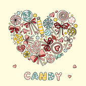 Heart with candy and lollipops — Stock Vector