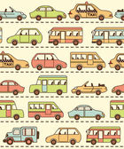 Pattern with cars and buses — Stock Vector