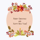 Vánoční nápis s květinami — Stock vektor