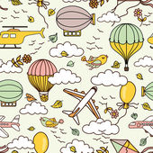 Pattern with hot air balloons and clouds — Stock Vector