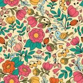 花と鳥のパターン. — ストックベクタ