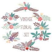 Set with vintage flowers — Stock Vector