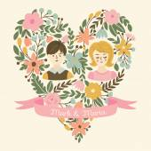 Wedding heart with bride and groom. — Stock Vector