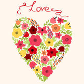Elegant heart with  flowers — Stock Vector