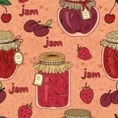Cherry, plum and strawberry jam — Stockvektor