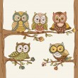 Banner of cute  owls. — Stock Vector #63324757