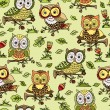 Pattern with flowers and owls. — Stockvektor  #63324845