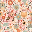 Pattern with flowers and owls. — Stockvektor  #63324851