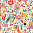 Pattern with flowers and owls. — Stockvektor  #63324877