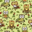 Pattern with flowers and owls. — Stockvektor  #63324879