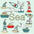 Collection of sea icons — Stock Vector #63325647