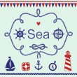 Various nautical elements — Stock Vector #63325809