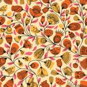 Pattern with flower and birds — ストックベクタ