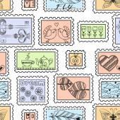 Padrão sem emenda com selos postais — Vetor de Stock