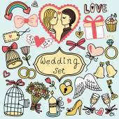 Wedding collection in cartoon style — Vecteur